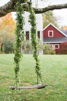 Rustic garland covered swing: http://www.stylemepretty.com/2015/10/07/cozy-fall-winvian-wedding/ | Photography: Heather Waraksa - http://heatherwaraksa.com/