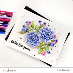 No Line Coloring - Altenew Remember This stamp set colored using Faber Castell Classic pencils by @pr0digy0. Sentiment from Spring Daisy set