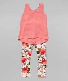 Look at this #zulilyfind! Coral Floral Bow Tunic & Leggings - Girls by Maya Fashion #zulilyfinds