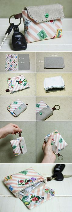 Card wallet with key chain tutorial: step-by-step in pictures. Purse Patterns, Sewing Patterns Free, Free Sewing, Sewing Hacks, Sewing Tutorials, Sewing Crafts, Sewing Tips, Bag Tutorials, Diy Crafts