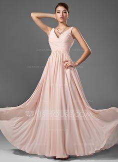 Vestidos de baile - $136.49 - Vestidos princesa/ Formato A Decote V Chá comprimento Chiffon Vestido de baile com Pregueado (018005068) http://jjshouse.com/pt/Vestidos-Princesa-Formato-A-Decote-V-Cha-Comprimento-Chiffon-Vestido-De-Baile-Com-Pregueado-018005068-g5068
