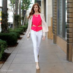 Modern Nude Pink Muse Look. Aside from the cutout in the blouse, this is a very nice look.