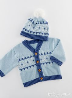 Keep them warm and cozy with this gorgeous Baby Aspen Blue Fair Isle Cardigan And Pom Pom Hat Set. Blue And White Hats, Blue V, Dark Blue, Light Blue, Color Blue, Fairy Tale Forest, Fairy Tales, Baby Aspen, Fair Isle Pattern