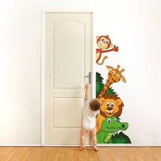 "Wall stickers for kids printed on wallpaper Wall Art ""Safari's animals 3"" 120x63 cm"
