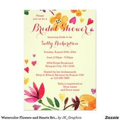 268 best bridal shower invitations and ideas images on pinterest in watercolor flowers and hearts bridal shower invitation filmwisefo