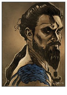Game of Thrones Khal Drogo art print by Mygrimmbrother on Etsy, £7.50