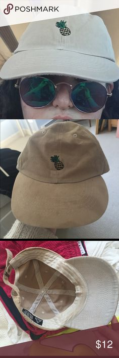 Unif Pineapple Hat 100% authentic. Bought off of Depop. Worn once to a festival in Spain, I believe the stains are sunscreen. I haven't tried a stain remover on them but it could work. Bleach / rust stain on adjustable strap (can be hidden if you have smaller head than I). No trades. Make an offer. UNIF Accessories Hats