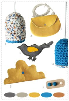 Moodboard #mutard #oker #blue #grey #lampshade #crochet #bird #bag #pillow  HandmadeByMo.nl