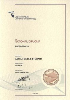 Diploma, certificates and award by Adrian Baillie-Stewart, via Behance