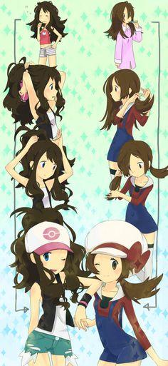 Pokemon girls getting ready - HeartGold & SoulSilver Lyra - Black & White Hilda
