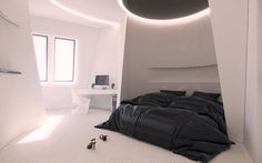Futuristic #bedroom. Keep up with the trends at http://impressivemagazine.com/2013/10/31/futuristic-interior-design-sci-fi-lovers/