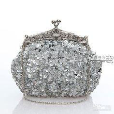 Wholesale 2013 Fashion Silver 100% handmade Party bandbag elegant Sequin Heavy Beaded wedding Bridal handbag, Free shipping, $22.4-31.36/Piece   DHgate