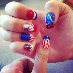 These are pretty thick gel nails but messing around for Fourth of July! <3 (just learning)