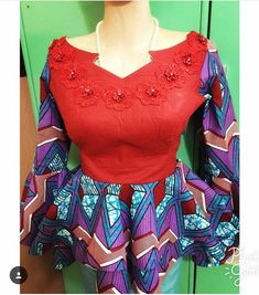 Lovely Ankara Peplum Tops Design by Ep fashionhouse - Ankara collections brings the latest high street fashion online Ankara Styles For Women, Kente Styles, Ankara Gown Styles, African Attire, African Wear, African Dress, African Lace, African Style, Top Street Style