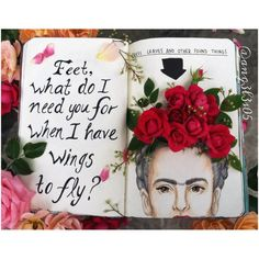 Words with design , Red Roses , Frida Kahlo Wreck This Journal, My Journal, Art Journal Pages, Scrapbook Journal, Create This Book, Frida Art, Arte Sketchbook, Sketchbook Ideas, Tumblr Art