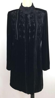 ELIE TAHARI Black Velvet Long Tunic Coat Holiday Party Jacket Dress Womans Large  | eBay