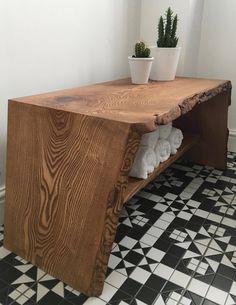 Live edge table / bench / TV console by SmithOriginalsUK on Etsy https://www.etsy.com/uk/listing/517994974/live-edge-table-bench-tv-console