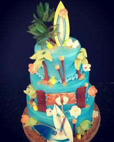 Hawaii Surfer Tiki themed Baby Shower Cake