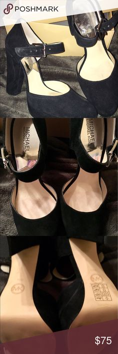 Michael Kors black suede Flynn Platforms These beautiful suede Michael Kors Flynn platforms have been worn only twice with no damage. Minimal signs of wear on the soles of the shoes. Fabulous shoes! Michael Kors Shoes Platforms