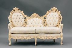 Elizabeth Love Seat | Vintage White Carved Sofa