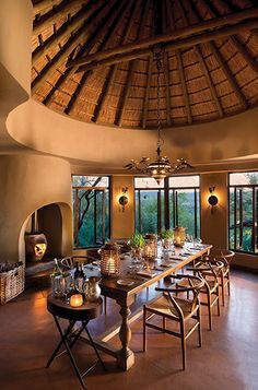 EXPEDITION Collection ~ Sunday, a day for giving thanks. (Image of Madikwe Dithaba Lodge in South Africa.) We ship World Wide. African Interior, African Home Decor, African House, Deco Restaurant, Sweet Home, Bamboo Architecture, Interior And Exterior, Interior Design, Lodge Style