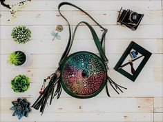 Your place to buy and sell all things handmade Green Leather, Leather Bag, Chakra Colors, Green Bag, Peace And Love, Gifts For Women, Mandala, Bohemian, Shapes