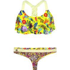 Maaji Yellow String Bikini, Flounced Bra Top - Derbyliscious (70 AUD) ❤ liked on Polyvore featuring swimwear, bikinis, green, string bikini, ruffle bikini, frilly bikini, yellow bikini and maaji bikini