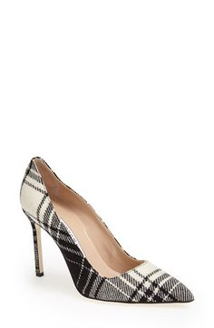 Manolo Blahnik 'BB' Plaid Pointy Toe Pump (Women) available at #Nordstrom