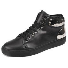 Men Metallic Black Leather Lace Up Punk Rock Hip Hop High Top Shoes SKU-1280028