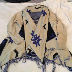 Aztec Poncho Cardigan S/M, Aztec (tan, black, blue), lightly worn Lush Sweaters Shrugs & Ponchos