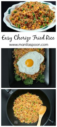 Don't throw away your left-over rice and make this easy and tasty Chorizo Fried Rice. Simply add a few drops of hot sauce to give it a spicy kick! #easy #chorizo #fried #rice