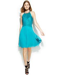 Calvin Klein Embellished Halter Dress