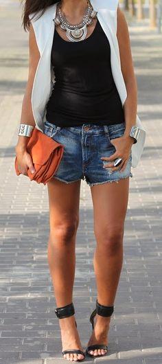 Denim Shorts Sleeveless Black Blouse Black High Heels With Fantastic Accessories