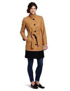AK Anne Klein Women's Paula Coat, Camel Black