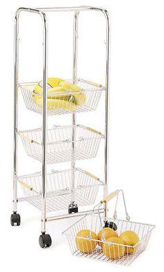 Kitchen Craft Chrome 4 Tier Vegetable Storage Removable Basket Trolley Stand | eBay Vegetable Storage, Home Organization, Organizing, Trolley, Kitchen Cart, Haifa, Tier, Storage Ideas