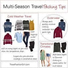 Packing Tips and Travel Clothing for Multi-Season Trips: http://travelfashiongirl.com/packing-tips-and-travel-clothing-for-multi-season-trips/ #travel #packing #tips