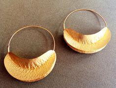 Gold Leaf EarringsFulani hoopsMinimalistic by taneesijewelry