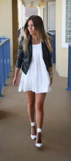 little white dress and leather