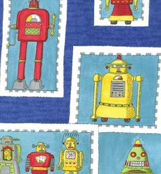 vintage robot fabric