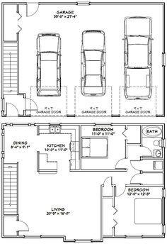 40x28 3-Car Garage -- #40X28G9 -- 1,146 sq ft - Excellent Floor Plans