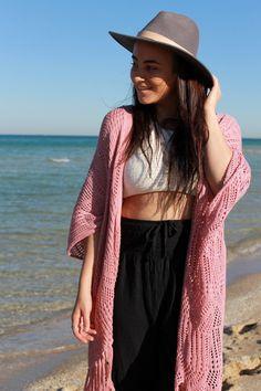 Bijou Stardust Crochet Kimono in Pink #bohostyle #crochet #kimono #gypsy #bohochic