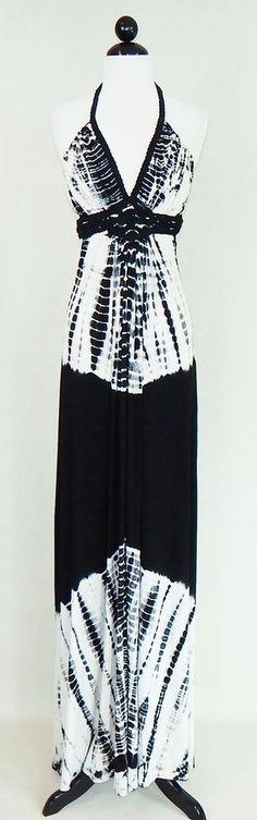 SKY BRAND Black White Tie Dye Suede Leather Trim Empire Halter Maxi Dress Size L #Sky #SundressStretchBodyconEmpireWaist #Casual