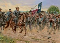 """""""Give Us Hood"""" by Don Troiani. The men of the 1st Texas Regiment cheer their brigade Commander John Bell Hood during the Antietam Campaign of 1862."""