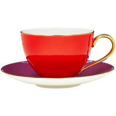 kate spade new york Greenwich Grove Flame & Purple Teacup & Saucer Set (€53) ❤ liked on Polyvore featuring home, kitchen & dining, drinkware, kate spade and tea cup and saucer