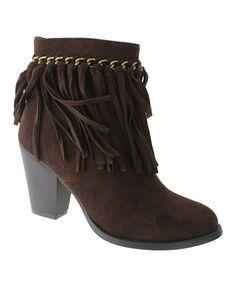 Look at this Pierre Dumas Brown Fringe Bootie on #zulily today!