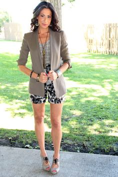 -Black and White Top by Joie  -Printed Shorts by Stella McCartney  -Grey Blazer by Helmut Lang