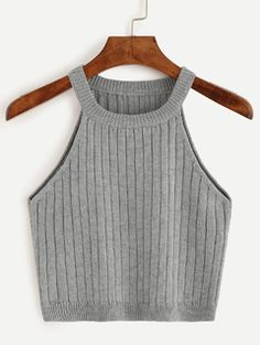 Grey Knitted Tank Top