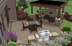 Patio with Pergola Over Fireplace Area | Outdoor Fireplaces & Fire Pits