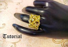 Tutorial PDF Right Angle Weave Swarovski Crystal Flower Swarovski Crystal Rings, Beaded Rings, Swarovski Pearls, Ring Tutorial, Bracelet Tutorial, Right Angle Weave, Beading Needles, Woven Bracelets, Crystal Flower