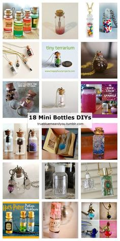 18 Mini Bottle DIYs posted on truebluemeandyou.Many of these mini bottle DIYs would make unique, quick, and easy gifts. • Left: Bottled Potions Tutorial from Etsy. Love Potion, Dragon's Blood, Wolfsbane Potion and the Antidote. • Right: Mini...